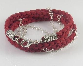 Burgundy Wrap Bracelet, Braided Faux Suede Chain Bracelet, Triple Wrap