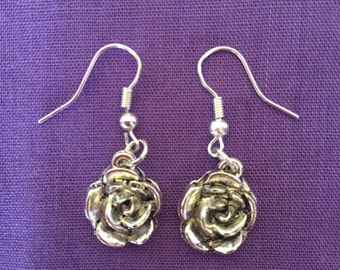 Rose Earrings Silver plated Charm