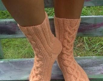 Unique hand-knitted wool socks (UK 4-5, EU 37-38)