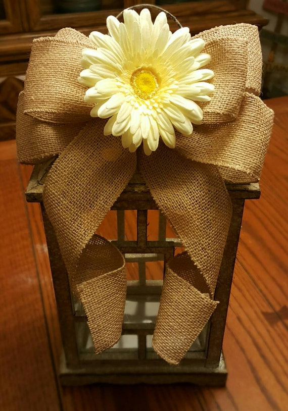 Rustic Burlap Bow with Flower