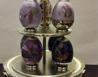 Franklin Mint Minature Egg Tree-Amethyst