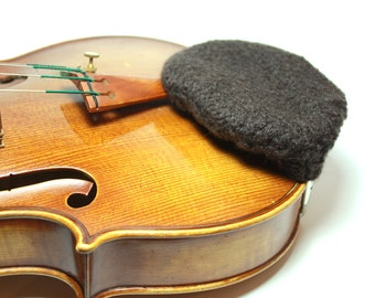 Dark Brown Felted Wool Chin Rest Cozy for Violin or Viola