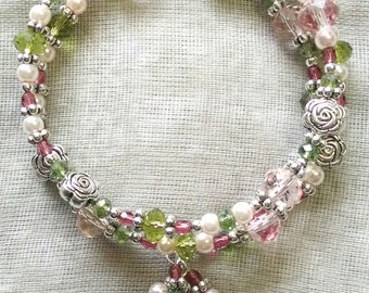 Pink, Green, and Silver Rosette Coil Bracelet