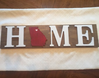Home University of Georgia Wooden Sign