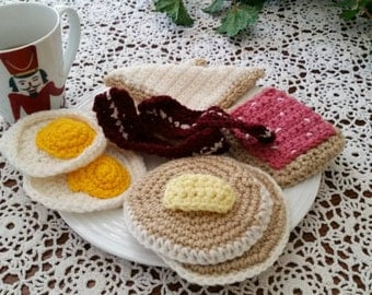 Crochet Breakfast Food Play Set ***Ready to ship ***