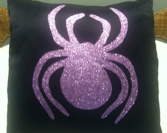 Glitter Spider on Black Satin  14x14