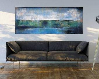 XXL Minimalist LANDSCAPE, 150 *60, Landscape Abstract Painting,  Acrylic Modern Art, Wall Art BLUE, on canvas, Landscape Art