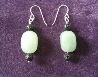 Fragrance in Silver earrings, aventurine and lava stone