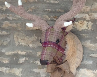 Handmade faux taxidermy berry tweed plaid check stag deer wall mounted animal head trophy