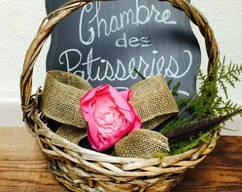 Rustic Flower Girl Basket, Vintage Handle Basket, Farmhouse Basket, Woven Basket,