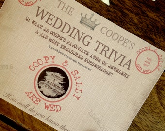Personalized Wedding Trivia Scratch Cards  Wedding Favours  Unique Wedding  Cards  Telegram Style WeddingWedding guest card   Etsy. Personalized Wedding Cards. Home Design Ideas