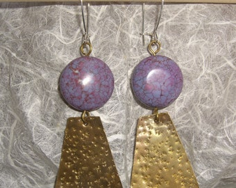Brass earrings and hard stone