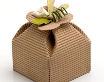 10 Corrugated Kraft Lucky Four Leaf Clover Boxes