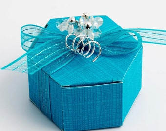 10 Turquoise Hexagonal Favour Boxes in Silk Finish