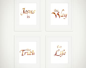 Jesus Is The Way The Truth & The Life, Set of 4 Printable Wall Art, Bible Verse Scripture, Poster, Inspirational Typography Digital