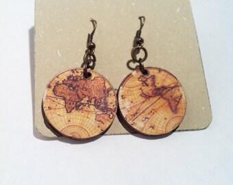 Wooden map earrings