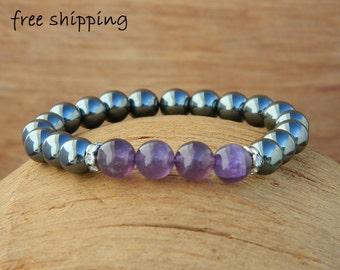 Hematite bracelet,Amethyst bracelet,Stretch bracelet,Gemstone bracelet,Energy bracelet,Yoga bracelet
