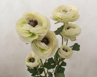 "Cream Ranunculus Silk Flower Bush, Artificial, Faux, Silk Wedding Flowers - 25"" Tall"