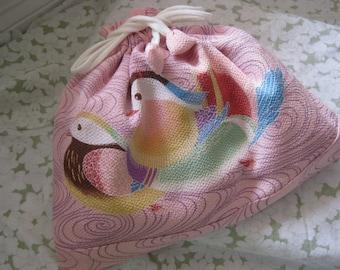 Pink Chirimen Bird Pouch large