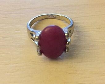 Fuschia Crystal Ring - Size 7
