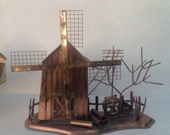 Copper musical windmill sculpture