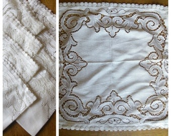 French Cutwork Lace Serviettes Napkins x 8 Vintage Retro