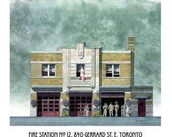 Fire Station Art, Hall No. 12, Gerrard Street, Toronto // Fire Hall, Fire House, Art Deco, Fire Department, Firefighter Gift
