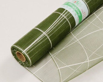 Check Moss Green Mesh Wraps 21in x 10yd Poly Mesh Roll, Decorating Mesh Wreath, Green Gift Wrap Mesh, Decorative Mesh, Holiday Wreaths