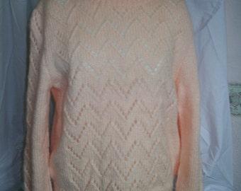 Ladies Pale Peach 1980's Fluffy Sweater