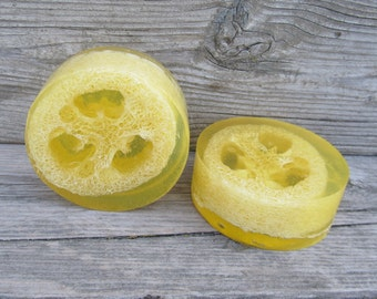 Lemon Glycerin Loofa Soap Bar exfoliating soap