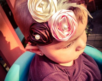 Satin flowers headband
