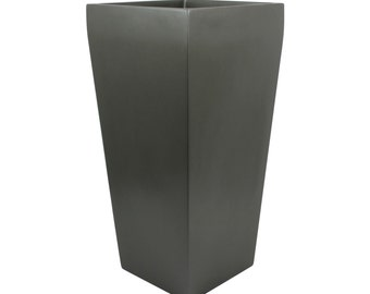 Windsor Tall Square Modern Planter - Grey. Made from hand laid fiberglass. For Indoor and outdoor garden use. Various sizes available.