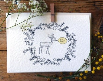Fawn New Arrival card/New Baby Card, can be personalised
