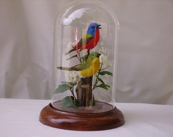 "Painted Bunting hand-painted sculpture in 8"" crystal dome"