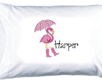 Flamingo Childs Personalized Pillowcase - Custom Kids Flamingo Pillowcase - Personalized Girl Pillowcase - Childrens Personalized Pillowcase
