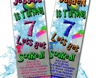Pool water balloon Party ticket invitation personalized (digital) you print as many you need