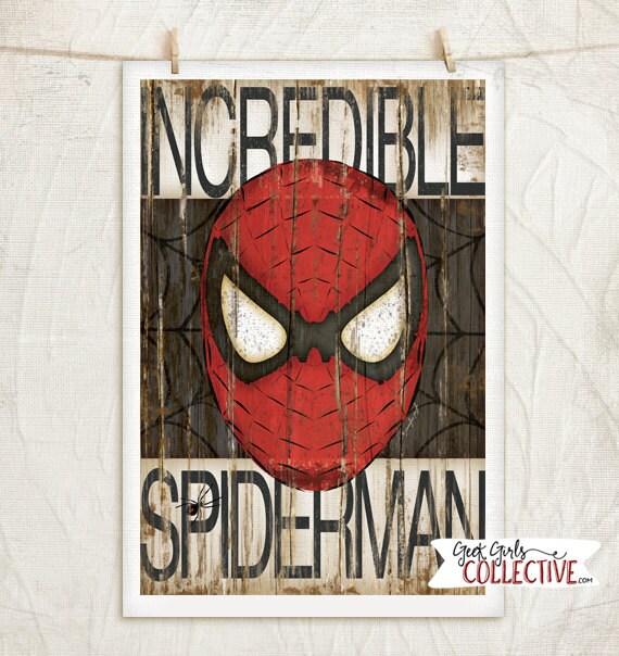 Spiderman Art Print Comic Art Vintage Home Wall Decor