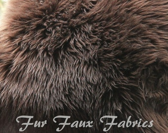 Chocolate Brown Luxury Shaggy Fur Faux Fabric By The Yard Remnants Long Pile Shaggy Solid Upholstery Supplies Crafts Plush