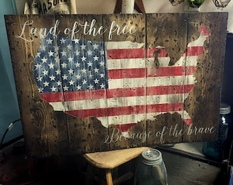Land of the Free Because of the Brave - **FREE SHIPPING!** 18x28 Wooden Sign AMERICA * Patriotic * Memorial Day * 4th of July * Home Decor *