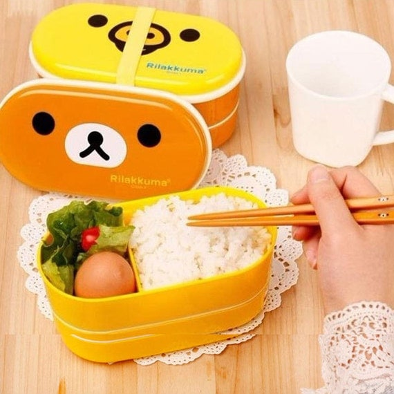 Portable Cute Bear Plastic Lunch Box Food Storage Bento Container Box Set Lovely
