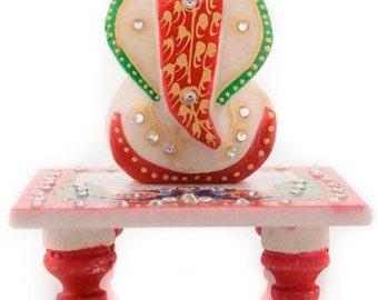 ages art marble lord ganesha with chowki