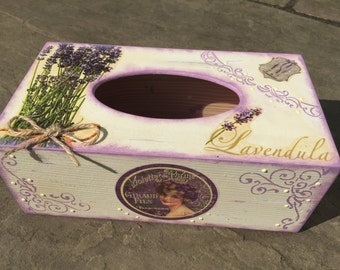 Shabby chic wooden decoupaged tissue box with lavender decor