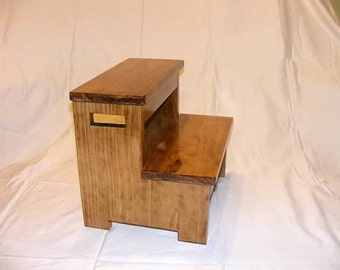 A Step Up.....solid wood stained step stool