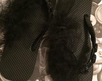 Fun Black and Elegant Flip Flops