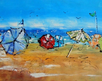 Painting Beach of parasols