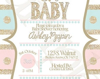 Gold Glitter Baby Shower Invitation | Oh Baby Invitation| Girl Baby Shower | Printable Invite