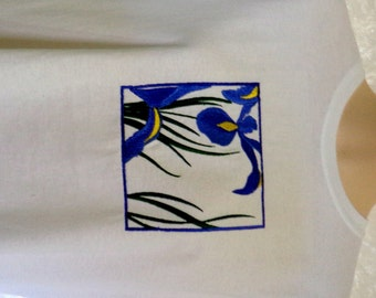 Womens Iris Embroidered Short Sleeved White Cotton T Shirt