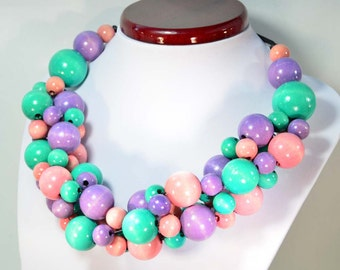 PASTEL necklace wooden beads
