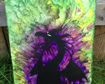"Maleficent Crayon Art (9""x12"" canvas)"