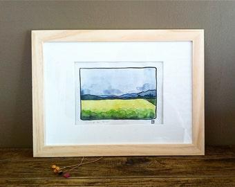 "Original Watercolor - Art - Framed - Home Decor - French Landscape - ""Le Champ de Colza"""